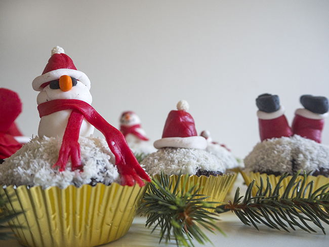 Coconut Chocolate Christmas Cupcakes