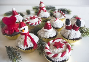 Coconut Chocolate Christmas Cupcakes