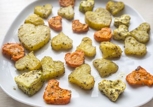 Heart-shaped Roasted Veggies